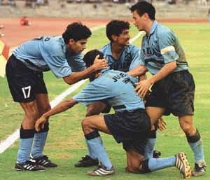 Indian Players celebrate Jules Alberto' s Goal against UAE in 2002 World Cup Qualifiers