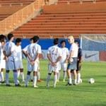 Colm Joseph Toal explains a point to the boys during a practice session in Tehran