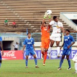 Dempo's custodian Subhashish in action against Pailan.