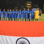 Indian Colts during the national anthem yesterday