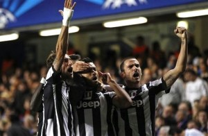 Juventus celebrating their equalizer at Stamford Bridge
