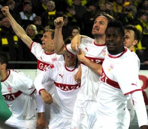 Stuttgart came back in stoppage time to draw 4-4 against Dortmund at Signal Iduna Park (March 2012)