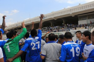 Rangdajied United players acknowledge their fans after I-League qualification