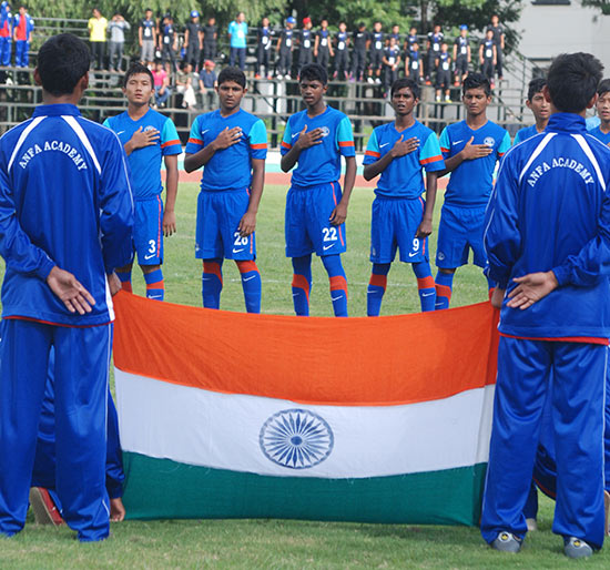 Indian Team during the National Anthem