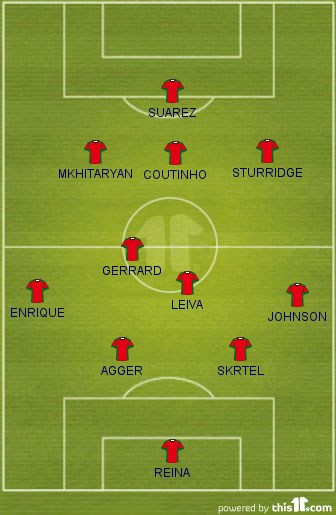 Rodgers' planned formation 2013-14, with Suarez, Mkhitaryan, Sturridge, Coutinho