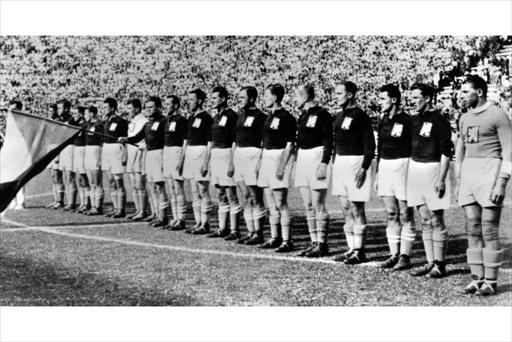 The Italian team lining up before a game.