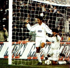 Zamorano and a young Raul celebrate a goal