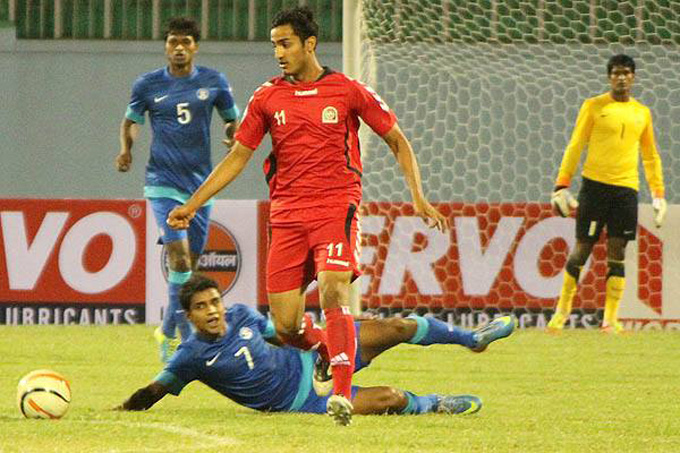 Afghanistan's Sandjar Ahmadi in action against India in SAFF Cup