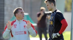 Brendan Rodgers (Liverpool manager) with Simon Mignolet (Liverpool/Belgium goalkeeper) | Liverpool FC: Everton Performance Makes Simon Mignolet The Real Deal