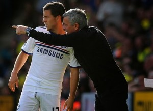 """Eden Hazard (left, Chelsea midfielder) and Jose Mourinho (right, Chelsea manager) 