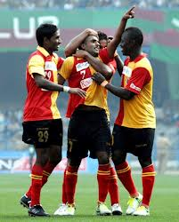 East Bengal's Harmanjot Khabra celebrates with his team mates