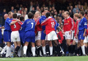 Players clash after Nicky Butt kicked Dennis Wise