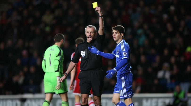 Oscar was booked following a simulation in the box, by referee Mark Atkinson.  (Image courtesy- fourfourtwo.com)