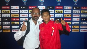 Nay Pyi Taw FC's Nay Zaw Aung with THT's Joseph George