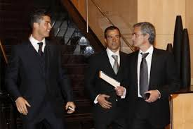 Cristiano Ronaldo and Jose Morinho with Player Agent Jorge Mendes