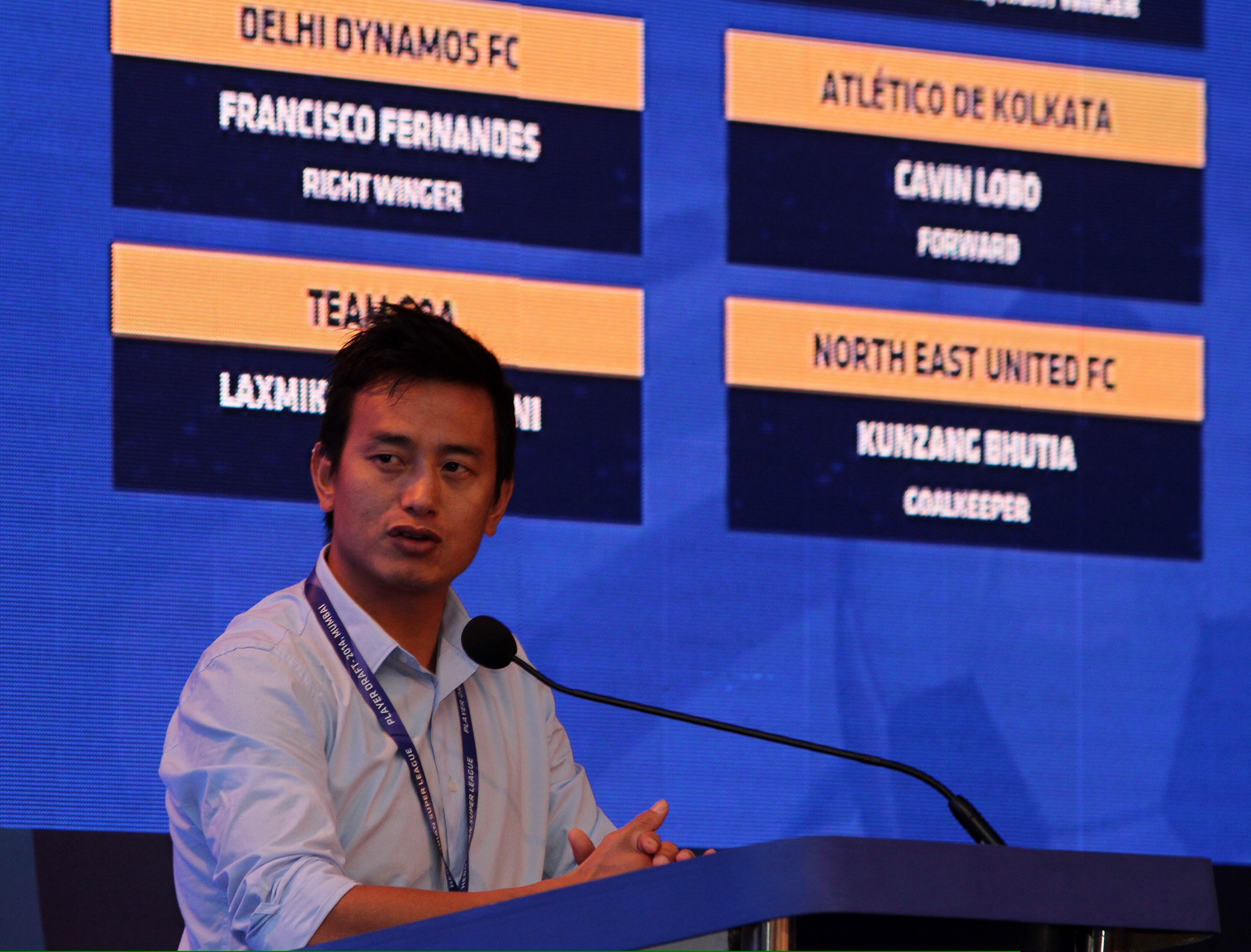 Indian Legend Baichung Bhutia presiding  over the auctions