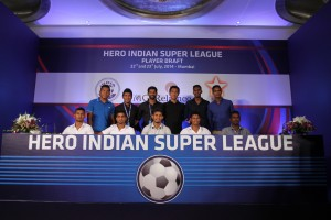 Top Indian players who have been sold to various Clubs in the Hero Indian Super League pose for a group photograph after the Central Domestic Draft in Mumbai.