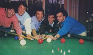 Scirea enjoying a game of pool with his Juventus Teammates