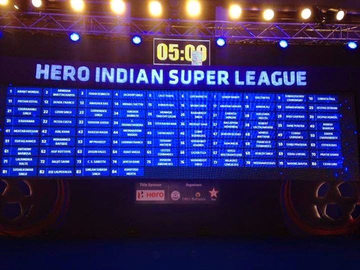 Auction 2014 Hero Indian Super League Teams,