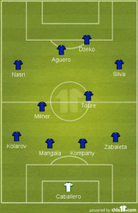 Manchester City will start in a formation best suited to their squad of superstars