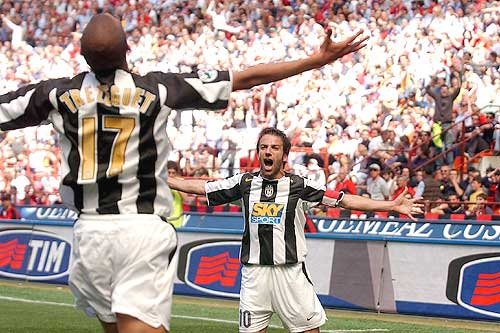 Alessandro Del Piero and David Trezeguet celebrating a goal together at Juventus