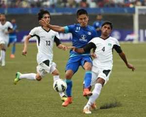 Sunil Chhetri of India in action against Pakistan.