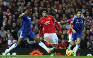 Fellaini controlled Chelsea's midfield pivot of Fabregas and Matic (c) Man Utd via Getty Images