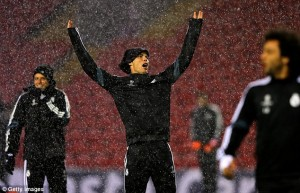 Ronaldo Trains at Anfield in Stormy Conditions.