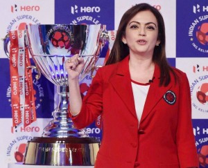 Nita Ambani with the ISL Trophy
