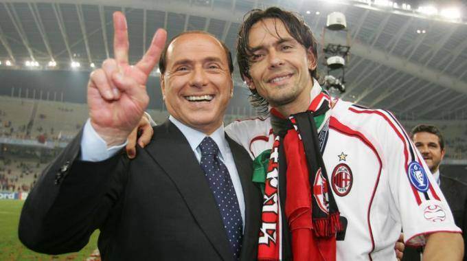 Milan president Berlusconi with Inzaghi in happier times