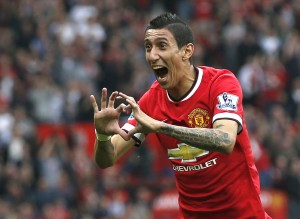 Manchester United's Di Maria celebrates after scoring a goal against Queens Park Rangers during their English Premier League soccer match at Old Trafford in Manchester
