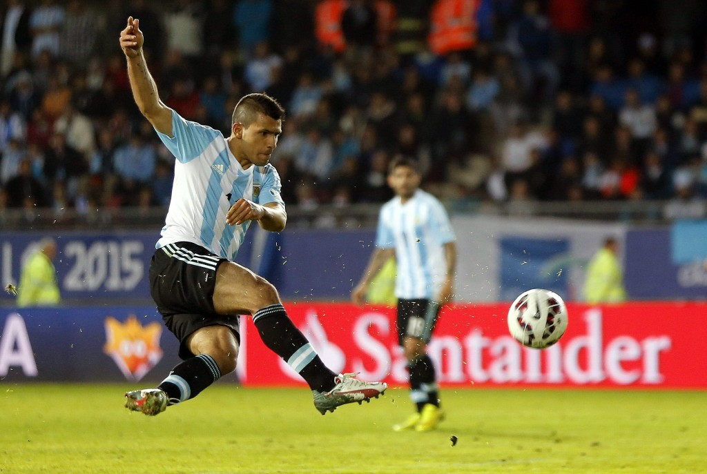 Aguero scoring against Paraguay for his country in the ongoing Copa America