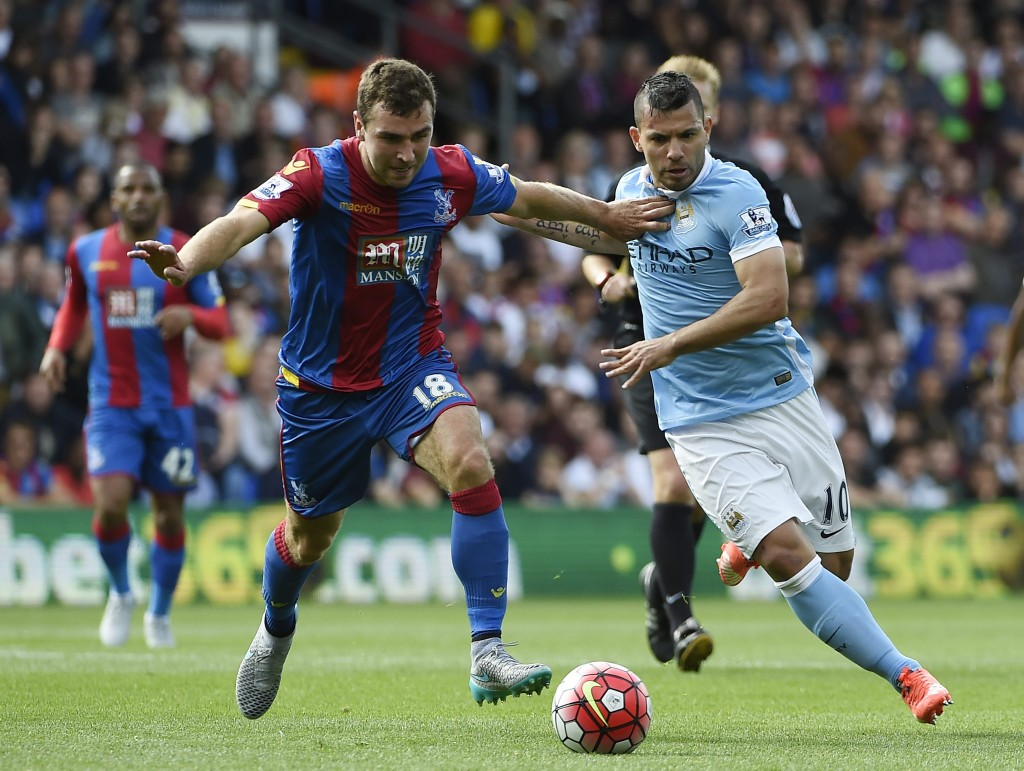 Sergio Aguero in action against Crystal Palace