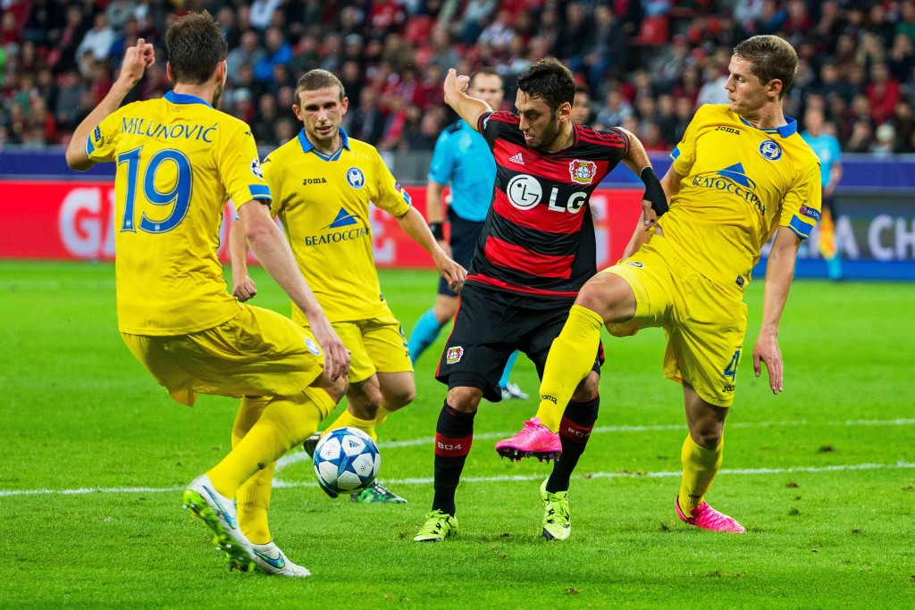 Hakan Calhanoglu has impressed the world with his free-kick taking ability and the midfielder could be on his way to either Tottenham or Inter Milan who are reportedly both interested in signing the 22-year-old. (Picture Courtesy - AFP/Getty Images)