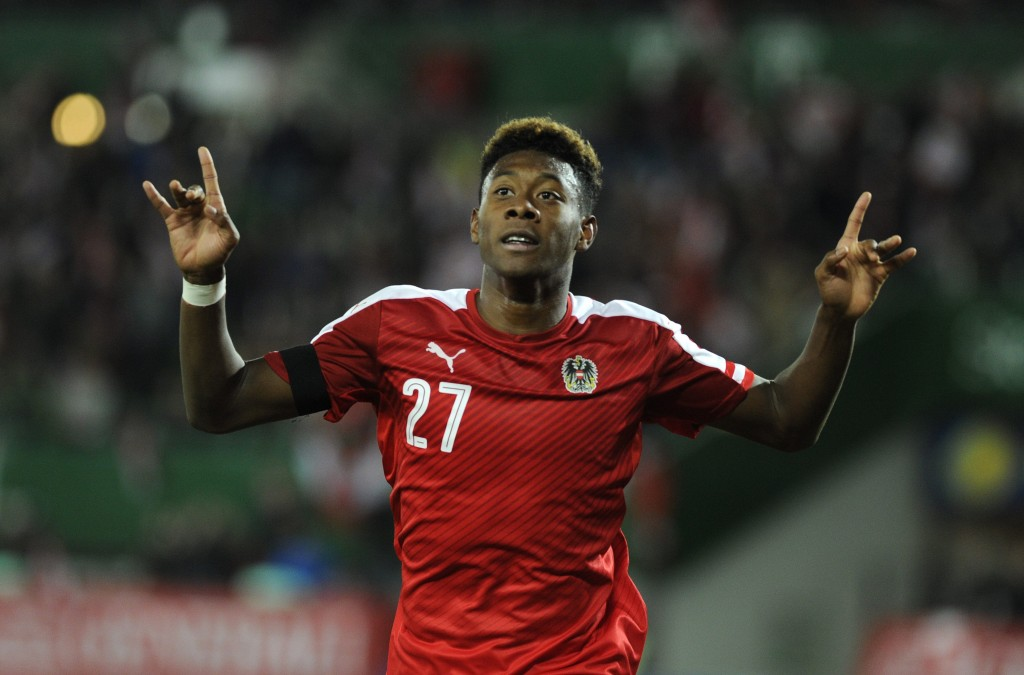 David Alaba reacts after scoring the 1-1 during a friendly soccer match between Austria and Switzerland at Ernst Happel stadium in Vienna, Austria, 17 November 2015. (Photo by HERBERT PFARRHOFER/EPA)