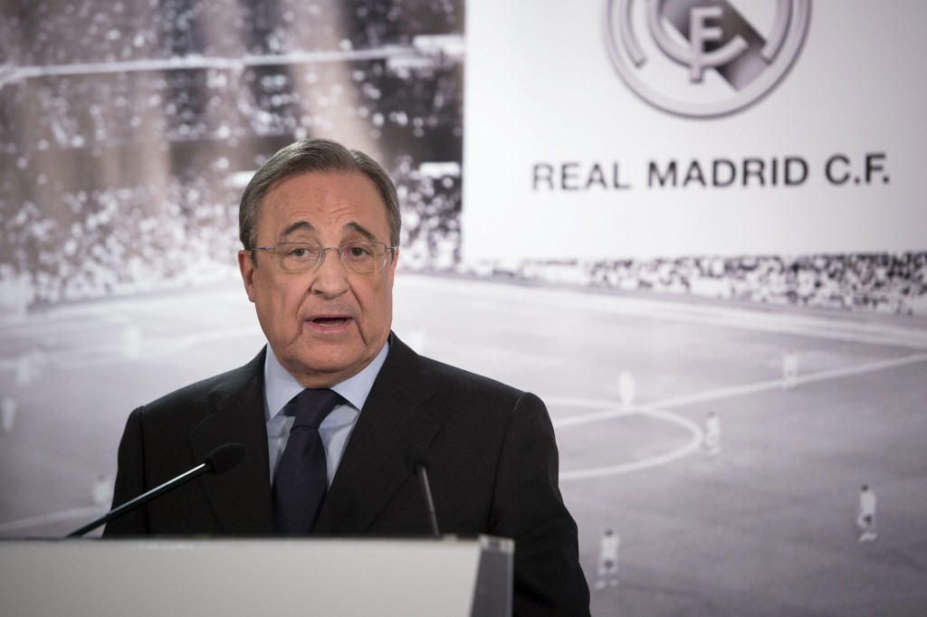 Real Madrid president Florentino Perez speaks during a press conference at Bernabeu stadium in Madrid. (Photo by Luca Piergiovanni/EPA)