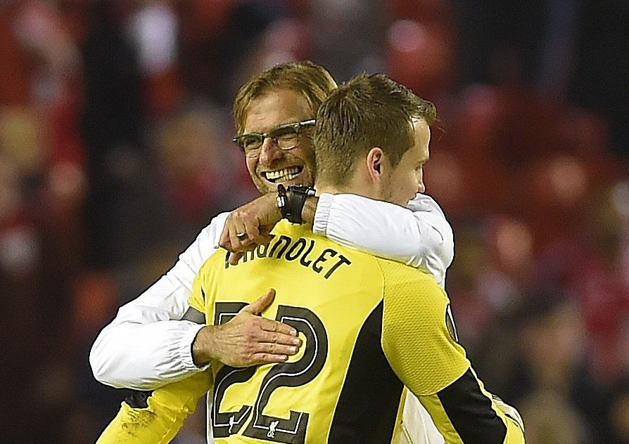 Liverpool's manager Jurgen Klopp celebrates with Liverpool's goalie Simon Mignolet after Liverpool's 2-1 victory during the UEFA Europa League group B soccer match between Liverpool FC and FC Girondins de Bordeaux held at Anfield in Liverpool, Britain, 26 November 2015. (Photo by Peter Powell/EPA)