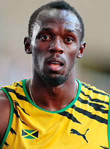 Jamaican professional runner Usain Bolt is a big Manchester United fan, and he thinks that if he appeared for a trial for the club, they'd offer him a ... - Usain_Bolt_by_Augustas_Didzgalvis_cropped