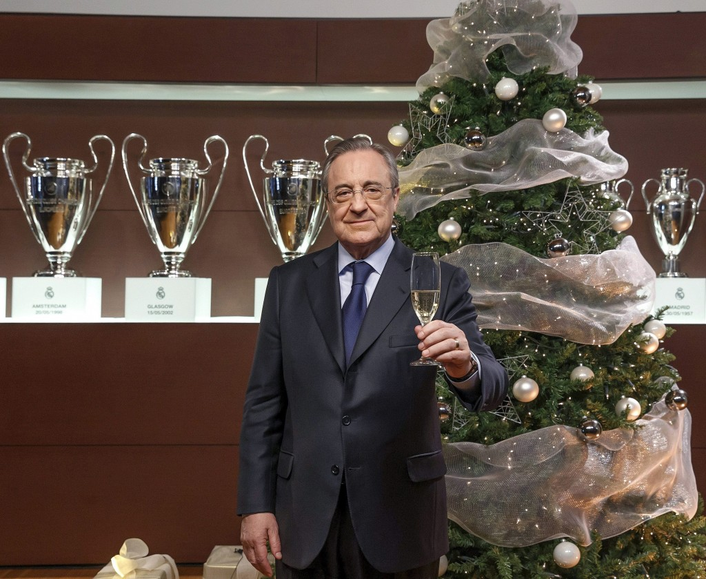 Real Madrid's President Florentino Perez Christmas greeting