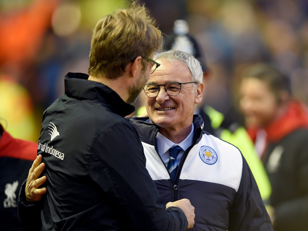 Jurgen Klopp (L) and Claudio Ranieri (R) before the English Premier League soccer match between Liverpool and Leicester City at Anfield, Liverpool, Britain, 26 December 2015. (Photo by Peter Powell/EPA)