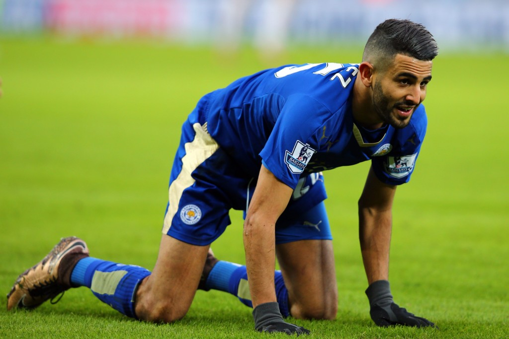 """""""Get, Set, Go"""" - Leicester City star player Riyad Mahrez could be on his way to Arsenal after reportedly telling the Foxes he wants a move. (Picture Courtesy - AFP/Getty Images)"""