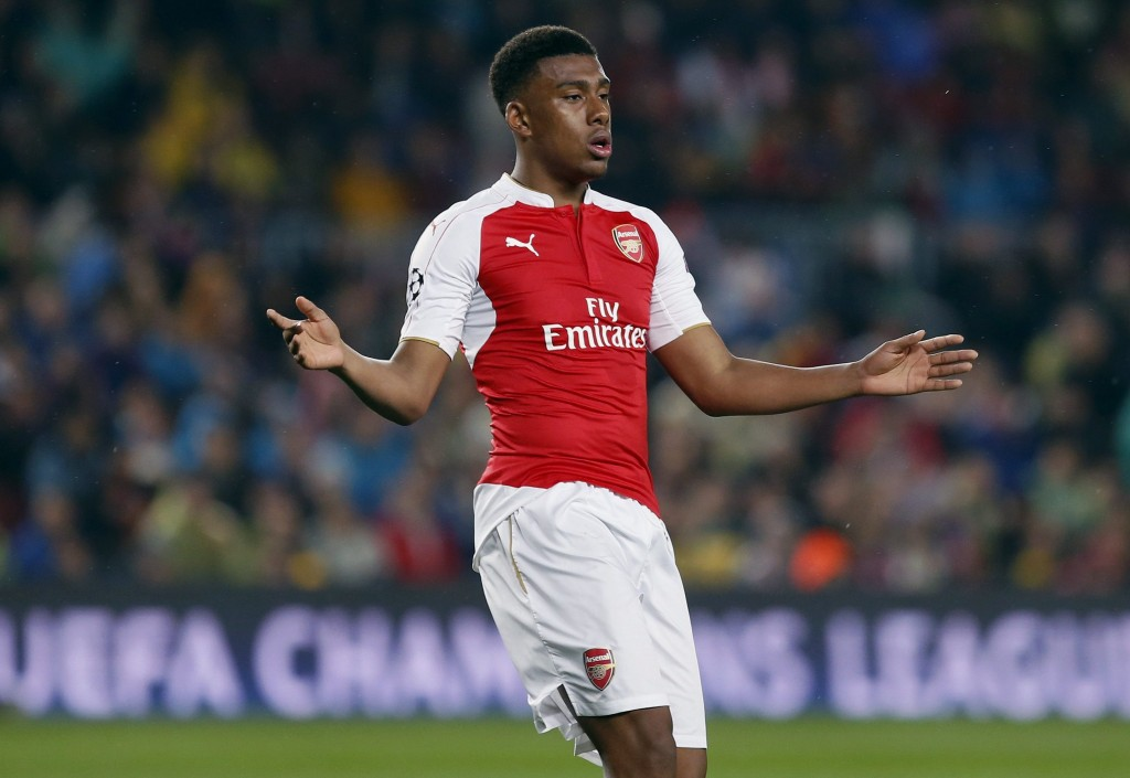 Arsenal FC'S Nigerian striker Alex Iwobi regrets a missed opportunity against FC Barcelona during their UEFA Champions League's round of 16 second leg match against Arsenal FC played at Camp Nou stadium in Barcelona, Spain, 16 March 2016. (Photo by Andreu Dalmau/EPA)