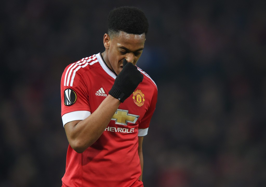Anthony Martial has seen a slight dip in his form from last season and Jose Mourinho has reportedly held talks with the 20-year-old in an attempt to shift his focus away from off-the-field problems. (Picture Courtesy - AFP/Getty Images)