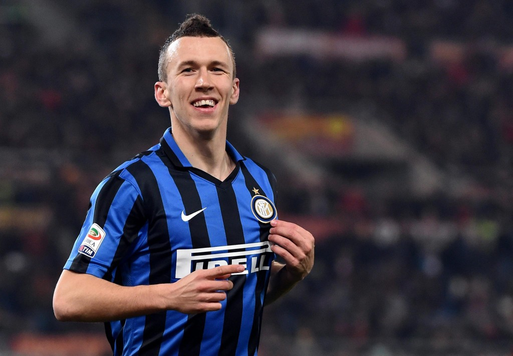 FC Inter's Ivan Perisic celebrates after scoring the 0-1 goal during the Italian Serie A soccer match between AS Roma and FC Inter at the Olimpico stadium in Rome, Italy, 19 March 2016. (Photo by Ettore Ferrari/EPA)