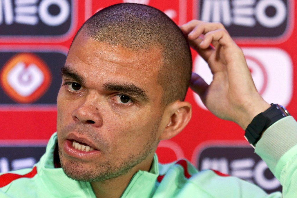epa05229456 Portuguese national soccer team defender Pepe speaks during a press conference at the Restelo stadium in Lisbon, Portugal, 24 March 2016. Portugal will face Bulgaria in an international friendly soccer match on 25 March 2016. EPA/ANTONIO COTRIM