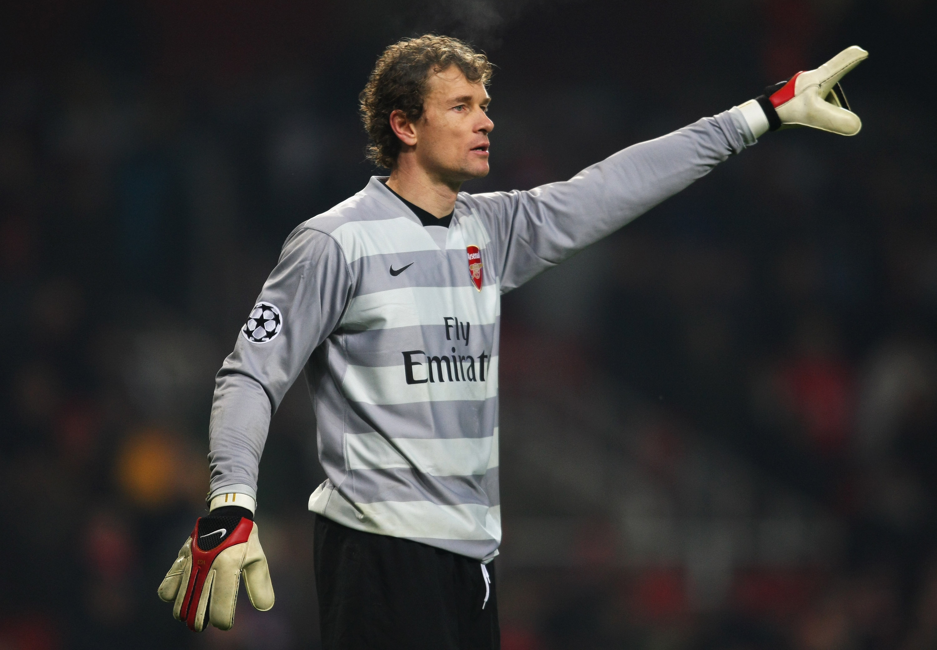 LONDON - DECEMBER 12: Jens Lehmann of Arsenal gestures during the UEFA Champions League Group H match between Arsenal and Steaua Bucharest at the Emirates Stadium on December 12, 2007 in London, England. (Photo by Shaun Botterill/Getty Images)