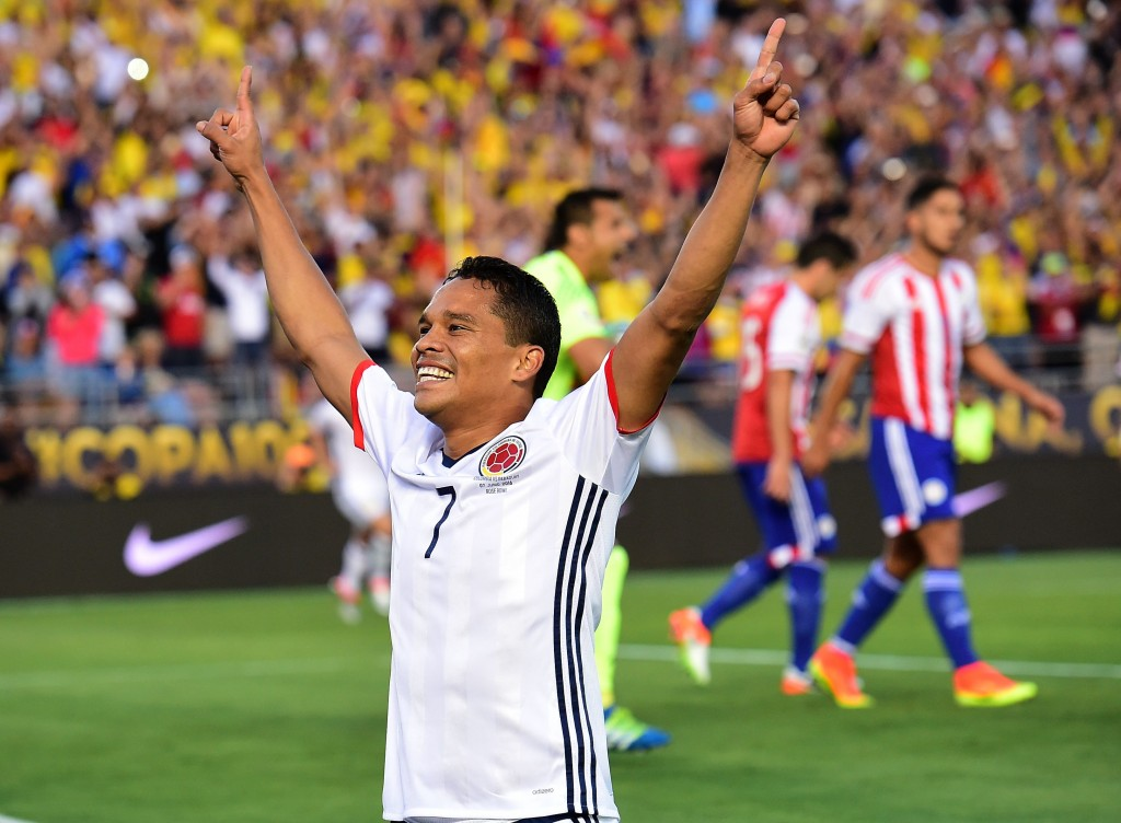 Colombia's Carlos Bacca celebrates after scoring against Paraguay during a Copa America Centenario football match in Pasadena, California, United States, on June 7, 2016. / AFP / Frederic J. Brown (Photo credit should read FREDERIC J. BROWN/AFP/Getty Images)