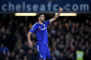 LONDON, ENGLAND - MAY 02: Diego Costa of Chelsea gestures during the Barclays Premier League match between Chelsea and Tottenham Hotspur at Stamford Bridge on May 02, 2016 in London, England.jd (Photo by Shaun Botterill/Getty Images)