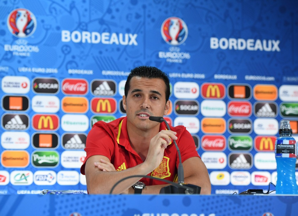 BORDEAUX, FRANCE - JUNE 20: In this handout image provided by UEFA, Pedro of Spain answers questions from the media during a press conferencev on June 20, 2016 in Bordeaux, France. (Photo by Handout/UEFA via Getty Images)