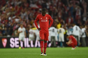 Liverpool's Belgian forward Christian Benteke reacts after losing the UEFA Europa League final football match between Liverpool FC and Sevilla FC at the St Jakob-Park stadium in Basel, on May 18, 2016. AFP PHOTO / PAUL ELLIS / AFP / PAUL ELLIS (Photo credit should read PAUL ELLIS/AFP/Getty Images)